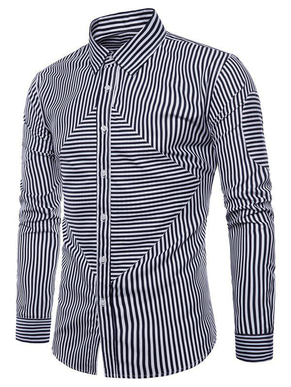 Affordable Striped Print Button Up Slim Fit Shirt