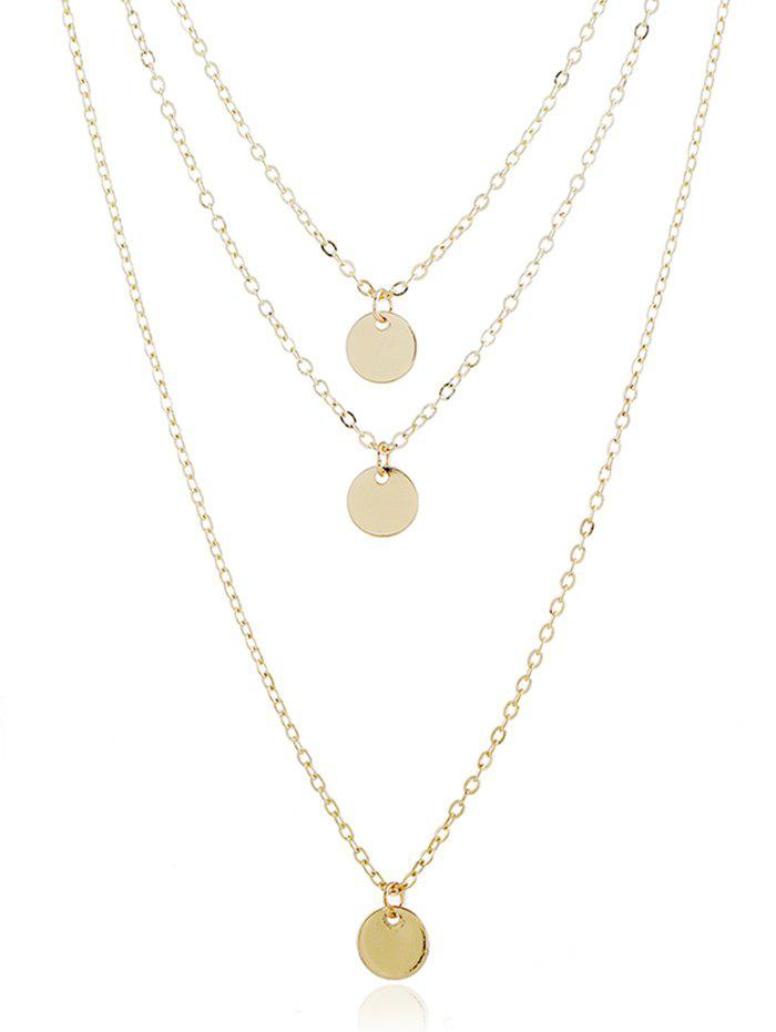 Fashion Layered Metal Disc Necklace