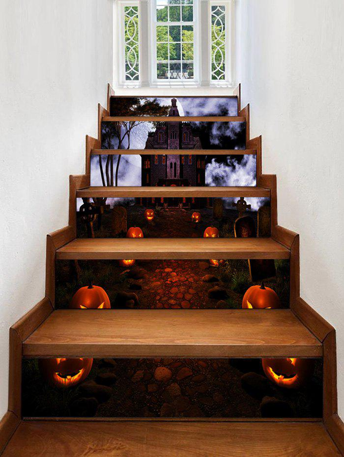Chic Halloween Pumpkin Castle Pattern Decorative Stair Stickers