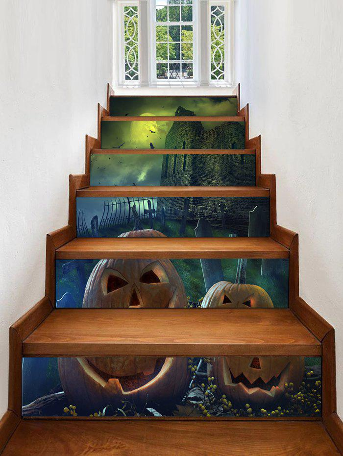 Discount Halloween Night Castle Print Decorative Stair Stickers