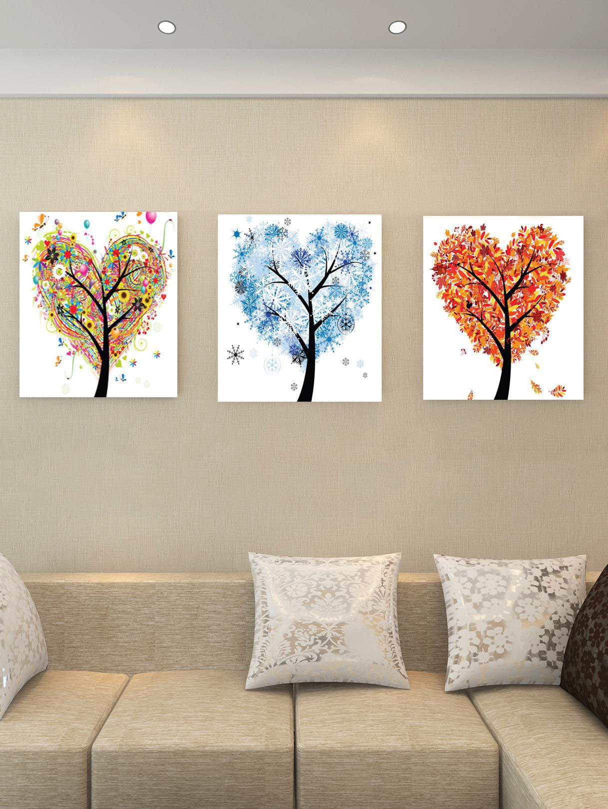 Chic Unframed Heart Tree Theme Printed Canvas Paintings