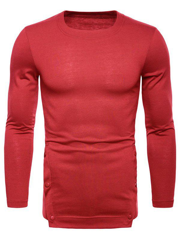 Store Button Hem Design Long Sleeve T-shirt
