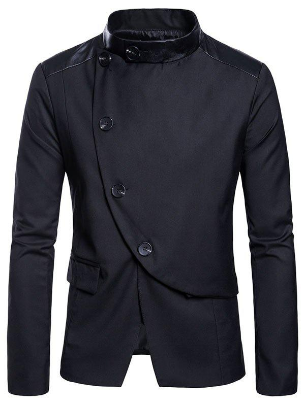 Online Slim Fit Stand Collar Button Design Blazer