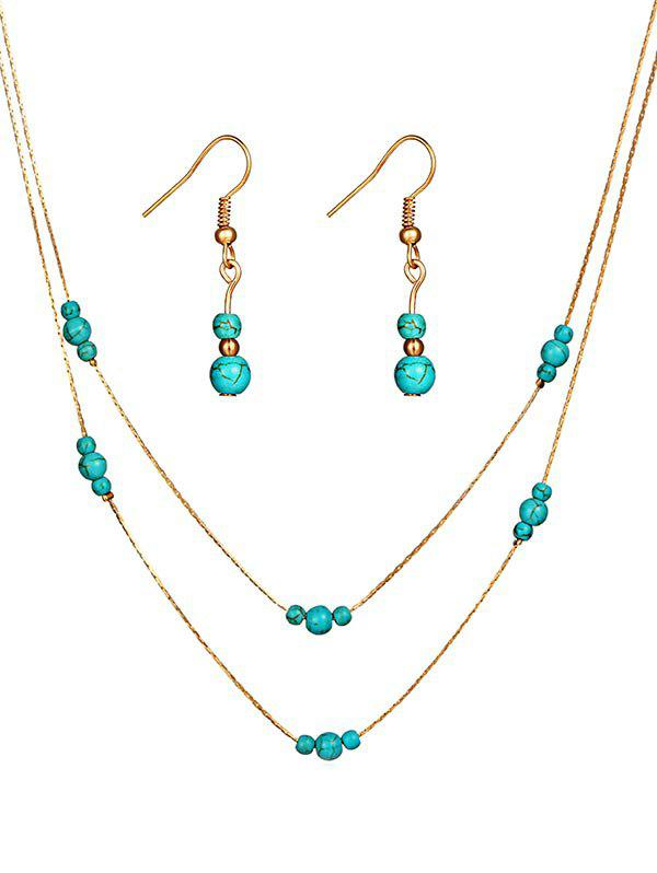 Discount Vintage Faux Turquoise Beaded Necklace Earrings Set