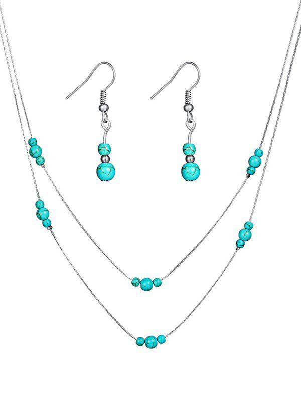 Hot Vintage Faux Turquoise Beaded Necklace Earrings Set