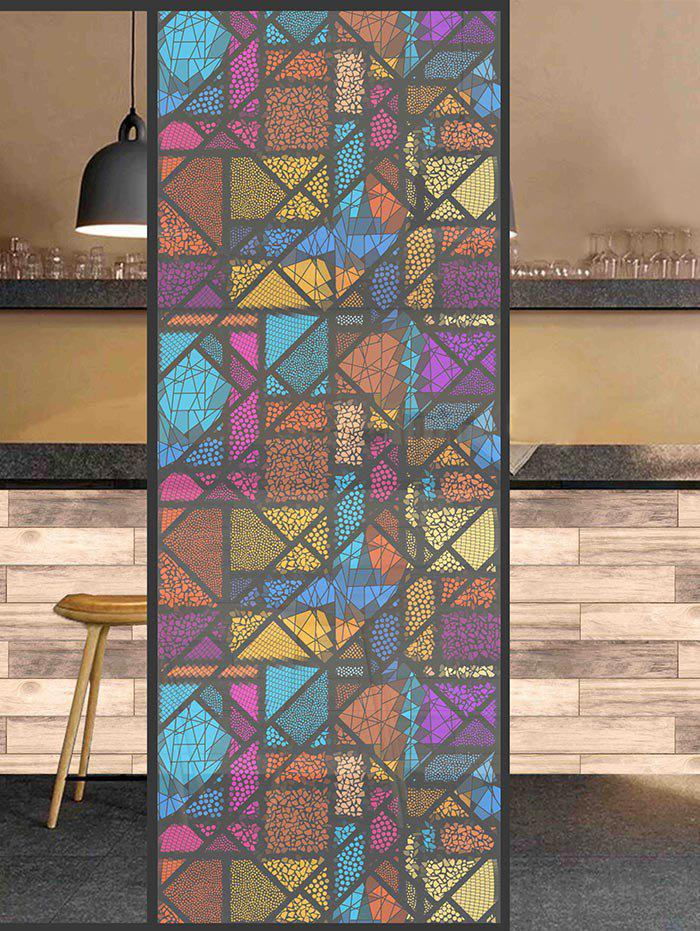 Chic Frosted Colorful Geometric Glass Sticker for Window Bathroom