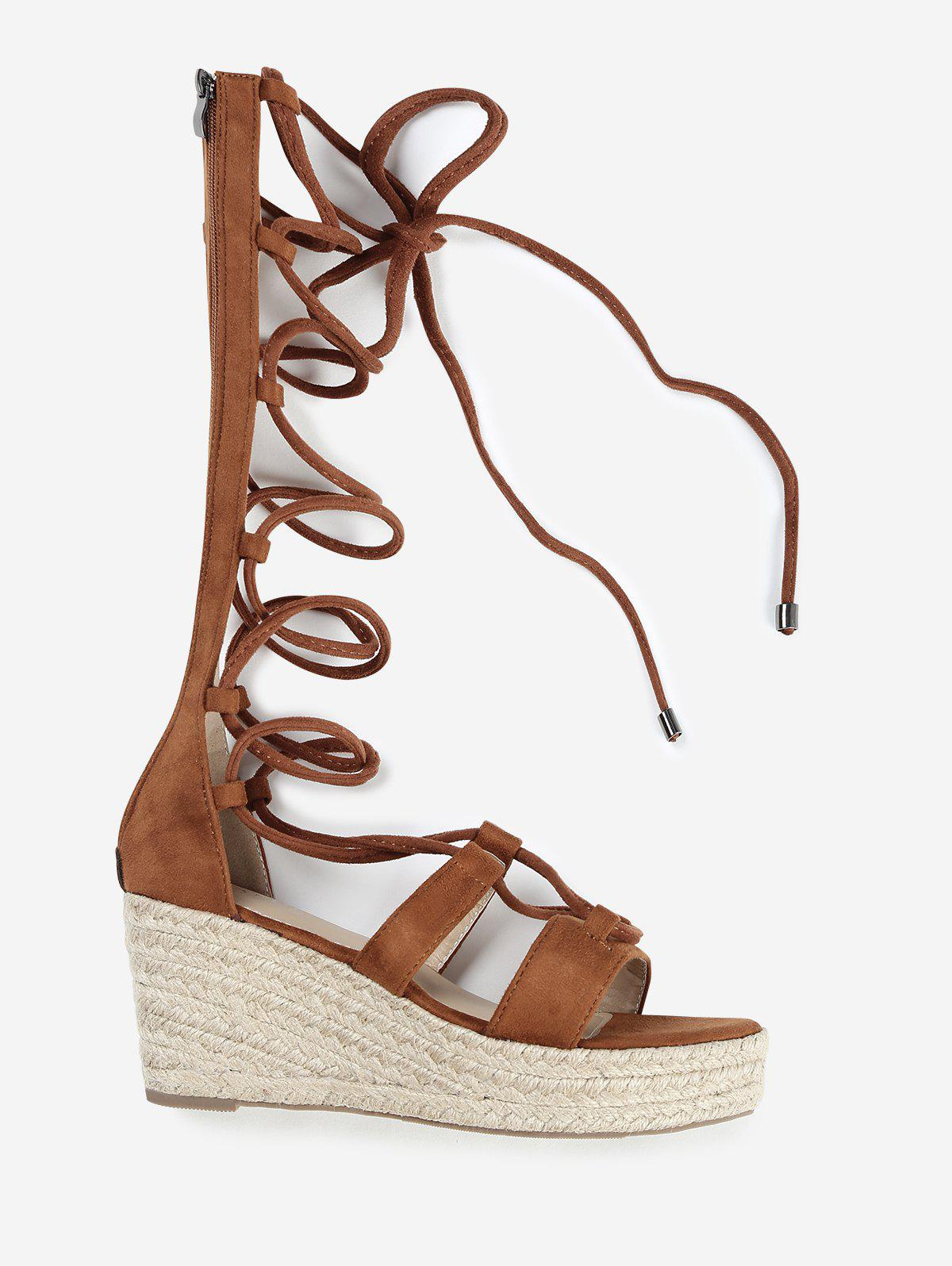 Chic ZAFUL Wedge Heel Strappy Gladiator Mid Calf Sandals
