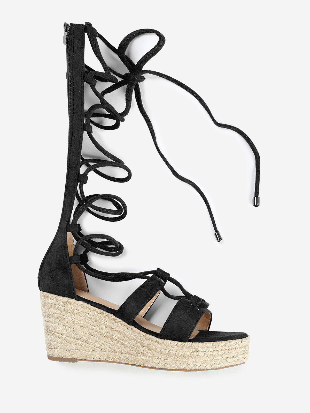 New ZAFUL Lace Up Wedge Heel Sandals