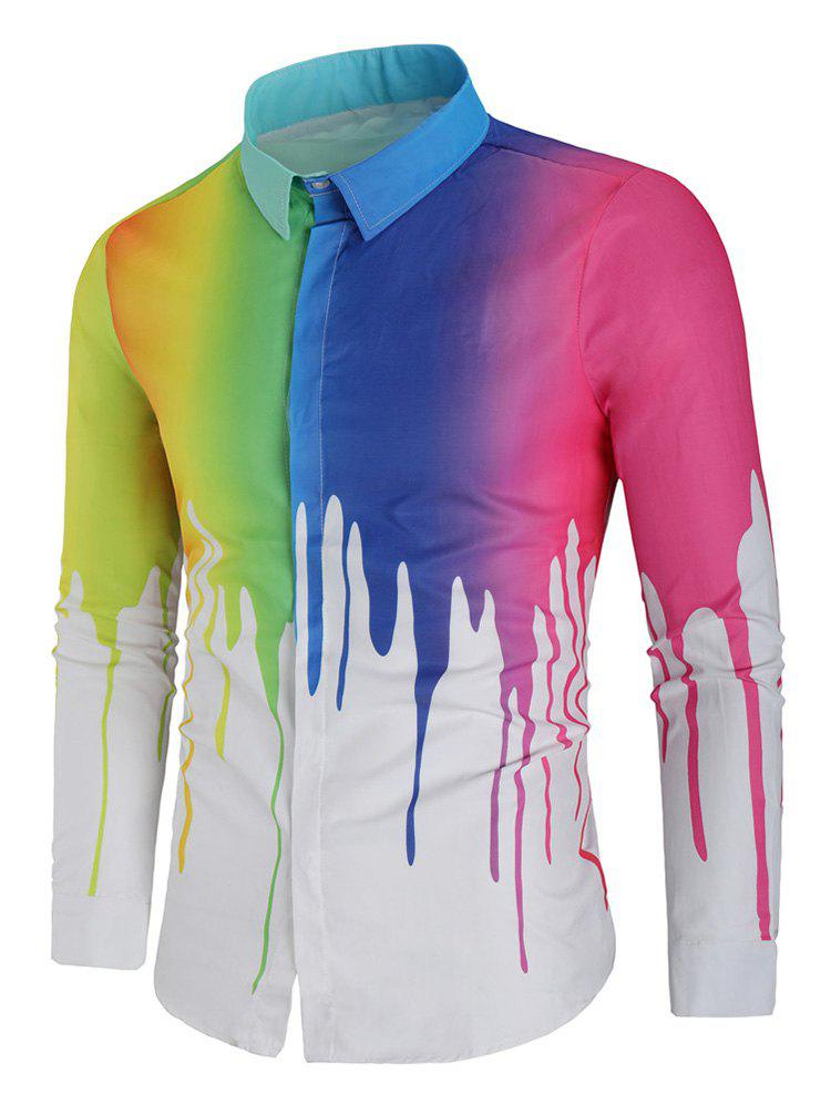 Best Rainbow Paint Slim Fit Shirt
