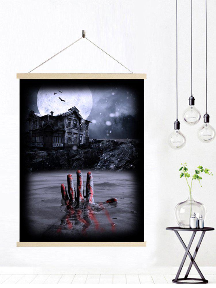 Fancy Halloween Bloody Hand Print Wall Hanging Canvas Art Painting