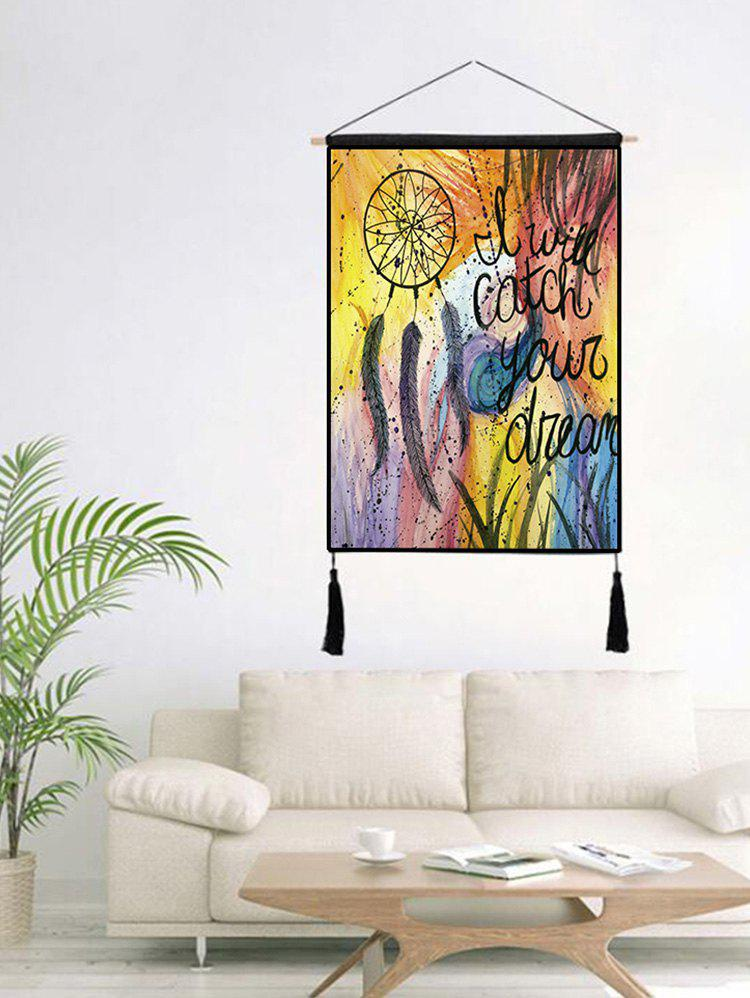 New Dream Catcher Print Tasseled Wooden Scroll Hanging Painting