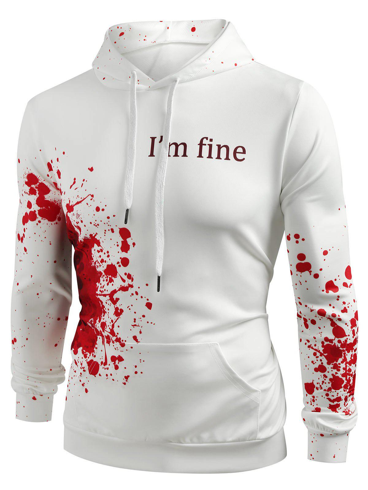 Best Halloween Inspired Spatter Letter Pattern Kanga Pocket Hoodie