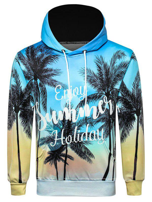 Discount Letter Coconut Palm Printed Casual Hoodie