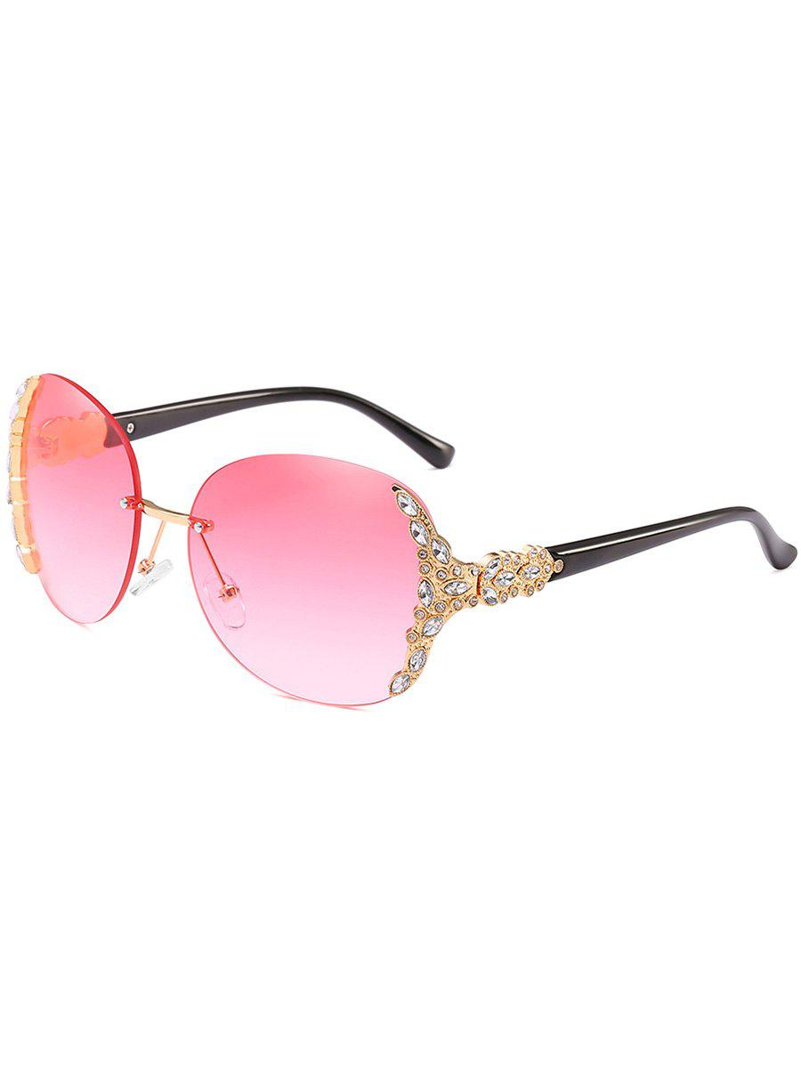 Trendy Rhinestone Inlaid Rimless Oversized Sunglasses
