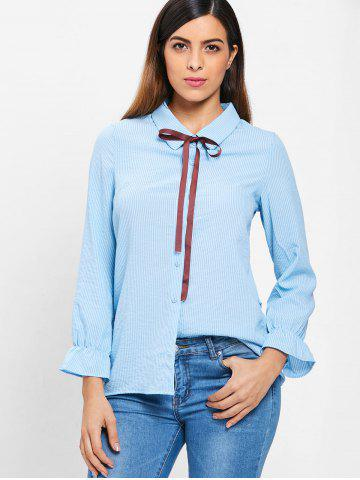Vertical Stripe Bow Tie Full Sleeve Shirt