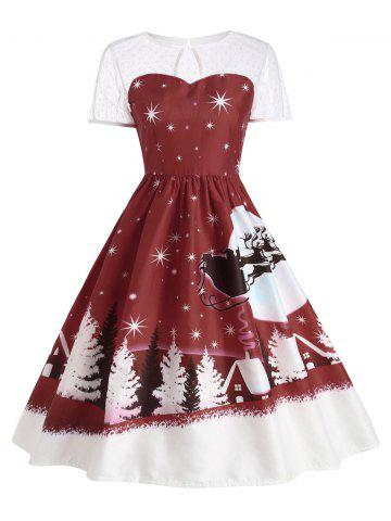 Santa Claus Deer Vintage Christmas Dress