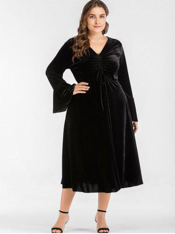Plus Size Drawstring Ruched Velvet Dress