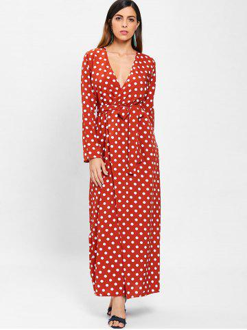 Plunging Neckline Polka Dot Maxi Dress