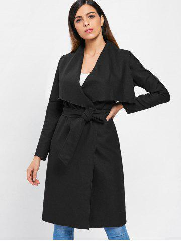 Draped Collar High Waist Wrap Coat