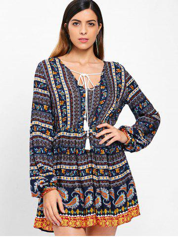 Bohemia Print Full Sleeve Short Dress