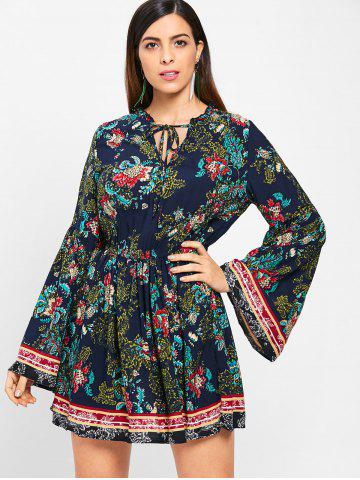 Ethnic Floral Print Full Sleeve Mini Dress