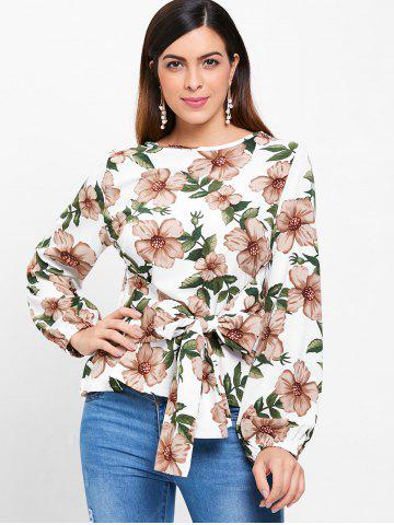 Floral Print Full Sleeve Blouse with Tie
