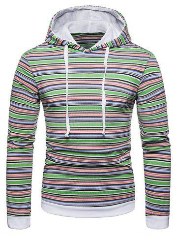 Drawstring Hooded Colorful Striped T-shirt