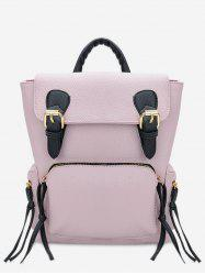 PU Leather Contrast Color Travel Backpack -