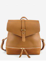 Panel Zip Pocket PU Leather Backpack -