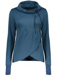 Petal Hem Drawstring Embroidered Sweatshirt -