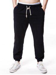 Solid Color Elastic Waist Jogger Pants -
