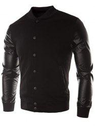 Faux Leather Sleeve Button Placket Jacket -
