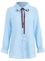 Vertical Stripe Bow Tie Full Sleeve Shirt -