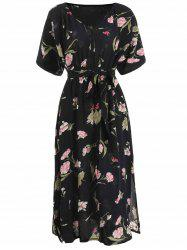 Floral Print Batwing Sleeve Flare Dress -