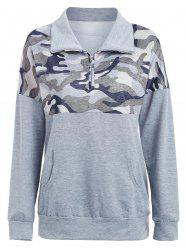 Kangaroo Pocket Printed Zip Sweatshirt -