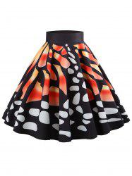 High Waist Butterfly Print Mid Calf Skirt -