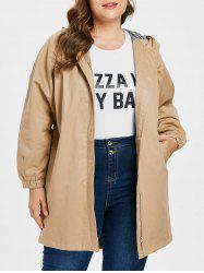 Plus Size Zipper Tunic Coat -