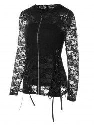 Sheer Lace Jacket With Tube Top -