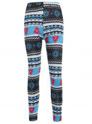 Snowflake Print High Waist Leggings -