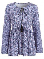 Long Sleeve Tiny Floral Print Skirted T-shirt -