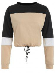 Color Block Drop Shoulder Short Sweatshirt -