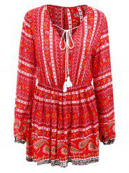 Bohemia Print Full Sleeve Short Dress -