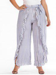 Plus Size Striped Ruffle Overlap Pants -