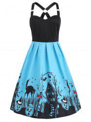 Sleeveless Halloween Black Cats Dress -