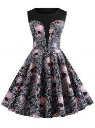 Vintage Skull and Floral Print Halloween A Line Dress -