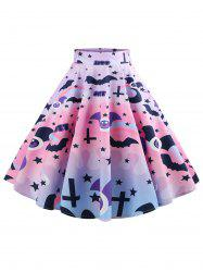 Halloween Bat and Star Print Mid Calf Skirt -