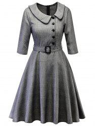 Plaid Peter Pan Collar Vintage Dress -