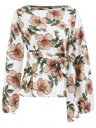 Floral Print Full Sleeve Blouse with Tie -