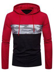 Hooded Color Block Camouflage Print T-shirt -