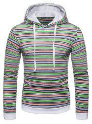 Drawstring Hooded Colorful Striped T-shirt -